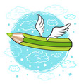 cartoon colored pencil with wings in the clouds vector image vector image