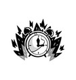 clock in a fire deadline punctuality time vector image vector image