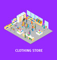 clothing store interior with furniture card poster vector image vector image