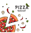 Delicious vegetarian pizza background with cheese vector image