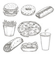 fast food menu design set hand drawn vector image