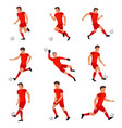 football player playing with soccer ball vector image