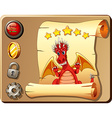Game template with red dragon background vector image vector image