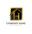 gold letter h house logo vector image vector image