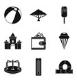 great amusement park icons set simple style vector image vector image