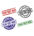 grunge textured your text here seal stamps vector image