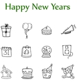 Hand draw of new year element icons vector image vector image