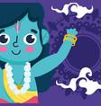 happy dussehra festival india rama cartoon vector image vector image