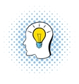 Head with light bulb icon comics style vector image