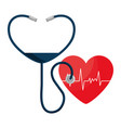 heart cardio with stethoscope vector image vector image