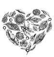 heart floral design with black and white banana vector image vector image