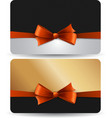Holiday gift card with red ribbons and bow vector image vector image