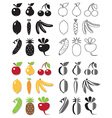 icons vegetables and fruits vector image