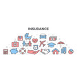 insurance with icons vector image vector image