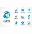 logo set - fintech blockchain technology vector image