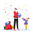 man dressed in santa costume giving christmas vector image vector image