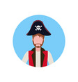 man wearing pirate costume face avatar happy vector image