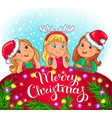 merry christmas greeting card with cute kids vector image vector image