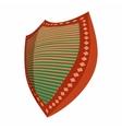 Metallic striped shield icon cartoon style vector image
