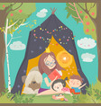 mum and her kids reading book in a tepee tent in vector image