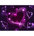 Neon or plasma purple hearts vector image vector image