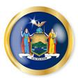 new york flag button vector image vector image