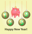piggy bank with christmas balls vector image vector image