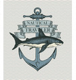 retro banner with ship anchor and hand drawn shark vector image vector image