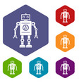retro robot icons set hexagon vector image vector image