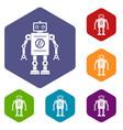 retro robot icons set hexagon vector image vector image