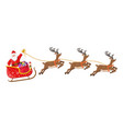 santa claus on sleigh full of gifts and reindeers vector image