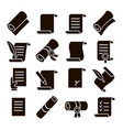 scrolls and papers classic icons set vector image vector image