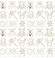 seamless pattern with doodle sketch bugs and vector image