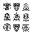 Set boxing badges stickers isolated on white vector image vector image