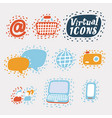 Set flat virtual icons for mobile app and web
