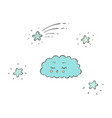sleeping blue cloud and sparkling stars in sky vector image