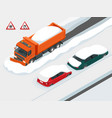 snow plough truck clearing road after white-out vector image vector image