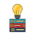 stacked books and bulb creativity education vector image