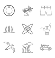 Surfing in sea icons set outline style vector image