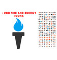 torch fire icon with bonus fire set vector image