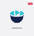 two color nachos plate icon from bistro and vector image vector image