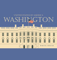 white house washington dc with flag vector image vector image