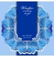 Winter frozen glass frame Blue wedding frame vector image vector image