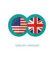 English Language icon USA UK flags vector image