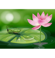 A grasshopper above a waterlily beside a pink vector image vector image