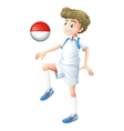 A male player using the ball with the flag of vector image vector image