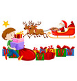 boy and christmas presents on white background vector image vector image