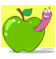 Cartoon apple with worm vector image vector image