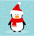 cartoon penguin on the winter background vector image