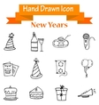 Collection of New Year object hand draw vector image vector image